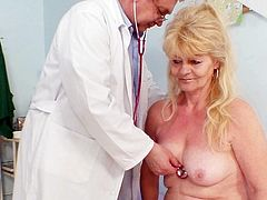 A gyno exam turns nasty for this mature blonde slut eager for sex