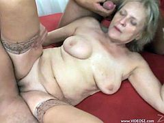 Check out this amazing hardcore scene where a mature blonde gets gangbanged by big cocks that leave her out of breath.
