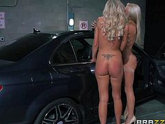 Cameron Dee and Nina Elle are two gorgeous lesbian babes having crazy wild sex beside a car. Leggy busty blonde with tight pussy and lovely ass gets her ass toy fucked and gingered by another hot lady in lesbian action.