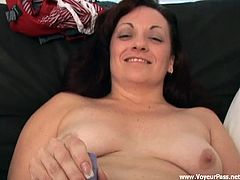 Horny Zina takes off her clothes and toys her shaved pussy lying on sofa. This woman also sucks a big black cock and then get pounded like never before.