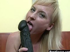 Watch this blonde mature milf Monik in this hot interracial video, where you will see this sexy blonde milf getting her tight butt hole and lusty pussy fucked by huge big black cock.