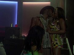 Stunning ebony girls Cassidy Clay and Jada Fire are trying hard to please a black stud. They suck and rub his wang remarcably well and then welcome it deep in their poontangs.