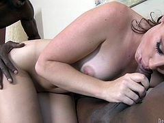 Jodi Taylor ends up filled by warm cum after this interracial gangbang after this slutty brunette is fucked by thick black cocks.
