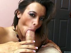 Brown head tasty looking seductive bitch with small titties fell on knees and set to greedily and stormily pound her flaccid mouth with monstrous sweet bonker. Watch this cock master in Fame Digital porn video!