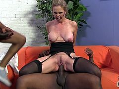 Salacious blonde cougar Jenna Covelli is getting naughty with two black dudes. She sucks and rubs their weiners and then welcomes them in her throbbing juicy cunt.