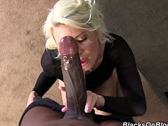 Anikka Albright in high heels giving a handjob and blowjob to a huge black cock. An interracial couple with a hot ass blonde getting her fill of black meat.