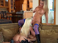 Samantha Saint and Stevie Shae are two charming babes in sexy lingerie. They suck a huge cock together. Later on they get nailed hard.