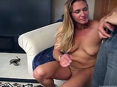 Ivy Love is a horny mature blonde sucking on this guy's hard cock before her wet pussy's drilled by this guy in this hot clip.