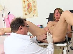 Enjoy her big boobs and juicy twat during full gyno exam