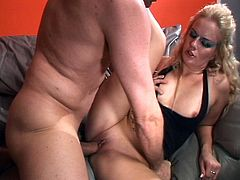 This could be your hot mom as this furious blonde whore bends down to get her gaping hole fully loaded with huge cock.