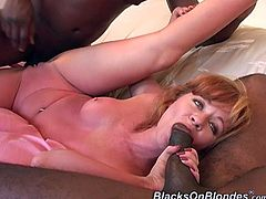 Strawberry gives oral pleasure to three Black guys with big dicks. Then this slutty MILF lies down on a sofa and gets her ass destroyed. She also takes cum in her mouth.