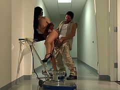 India Summer works hard every single day. Sometimes she needs to let off steam. She come up to a lucky janitor and starts to suck his dick. Then she gets fucked and facialed.