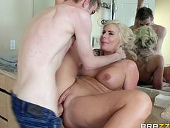 Blonde, with big boobs and a slutty face, this mom is gorgeous! She's fucking perfect in any aspect and damn, she's a sensual beauty. Stay with her and see how she baths and then gets dirty again. The blonde cleaned up but now she wants to cum fill her pussy and Danny is the right guy for this job. Enjoy