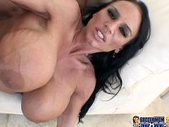 Torrid and sexy brunette Lisa Lipps shows her unbelievably huge melons, gets her shaved pinkish snatch eaten and fucked hard.
