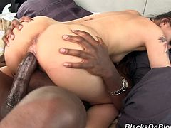 Touch yourself watching this Asian babe, with small tits and a hairy pussy, while she has interracial sex over a nice bed and moans loudly.