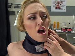 This blonde slut sucks on tranny nurse's cock. Take a look at this dirty slut and she gets down on her knees in the examination room and gets the nurse's cock in her throat. She deep throats the cock as she has a pressure measurer around her neck.