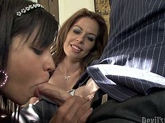 The mother with big melons and sexy brunette daughter decide to make a dick sucking competition. Watch in steamy Fame Digital sex video.