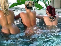 Three big butts babes are about to show us what sluts they are. These bitches know what we want to see from them so they go in the Jacuzzi and make their asses nice and wet. Then, they bend over and get to work with these guys. The sluts suck them hard and maybe, they will take it in their asses.