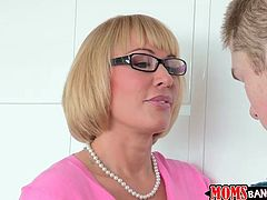 Mom Melanie had a lot of cock, but although she's an experienced mom, she still needs more and Jake looks very appealing to her. She seduces the younger m