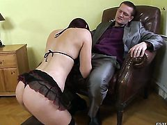 Ian Scott bangs Mira Sunset as hard as possible in anal action before she takes it deep in her mouth