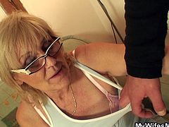 My wifes mom just discovered porn and it looks like she likes it way to much than me! She's a naughty blonde slut with saggy boobs and a huge sex drive that has just been turned on by that porn. Now that she's horny as hell, I'm taking advantage of it and get ready to fuck her!