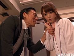 Science teacher Fuuka Nanasaki has been called in to see the principal. He is not pleased with the performance of her students. He makes her take off her lab coat and lift up her miniskirt. He looks at her pussy and then sucks on her nipples before spreading her ass cheeks and kissing her ass.