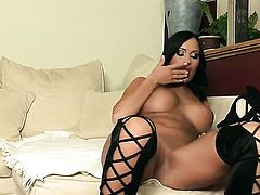 Claudia Capri with bald muff is horny as hell and fucks her bush with her toy on camera