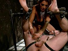 Francesca always stays on top, she's one of those divine whores that shows no mercy or respect to a man. Watch her having a lot of fun with this guy that she immobilized in the bondage mechanism. She puts him to lick her sexy ass, mouth fucks him with a strap on dildo and tortures him with clothespins.