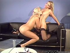 Get wild watching these blonde MILFs, with big knockers wearing high heels, while they touch and lick each other passionately in a glamorous clip.