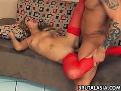 A blonde Asian babe has the most memorable sex in her life. She gets her tight pussy fucked by a huge cock and ass fingered at the same time. The guy fucks this babe as hard as he can. She screams loudly with pleasure and pain.