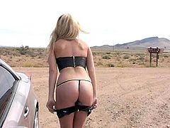 Salacious blonde Alison Angel is playing dirty games in the field. She pees on the ground and then squats and masturbates her twat.