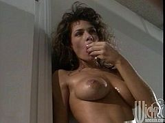 Busty cutie Ashley Nicole and long-haired hunk Teri Weigel are getting naughty indoors. Ashley gives a blowjob to Teri and then lets him eat her sweet pussy.