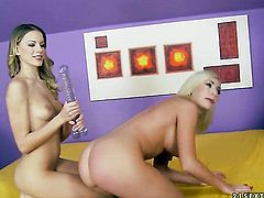 Blonde porn diva and Isabella Clark enjoy another lesbian sex session in front of the camera