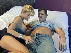 Have a blast watching this blonde wife, with big boobs wearing a miniskirt, while she uses her experienced mouth to give pure pleasure to this guy.