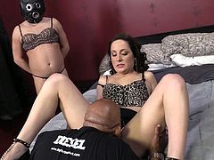 This white wife makes her husband stand by and watch as a black guy uses his tongue to make her wet pussy cum over and over again.