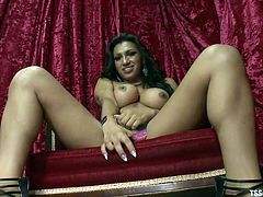 Transsexual Jessy Dubai pinches her nipples and shows off her nice boobs for you. She bends over so you can see her big round ass. She rubs her cock over her panties for you and then pulls it out and jerks off