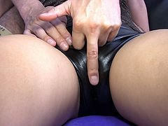 Mind blowing Japanese beauty Sakura Kiryu looks really nasty in her leather shorts. Kinky lover rubs her natural tits and fondles her crotch.