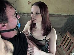 Wild bill is tied up with nowhere to go. Claire has fun tying his cock up with rope and torturing him. It's tied to the chair and she pulls it farther and farther away so her slave's cock gets stretched to the point of no return.