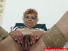 Blonde granny nurse gets unshaved pussy dildoed