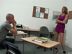 Tall and busty blonde teacher seduces one cocky stud with her hot body in tight purple mini dress. Guy can't resist to suck her big perky boobs. Then whore gives blowjob and lets her stud eat her sweet asshole.