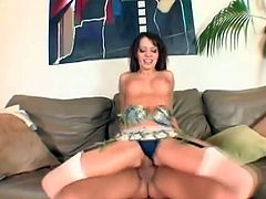 The hottest babe alive, Vanessa Lane, looks amazing in those stockings. She sucks this big cock like a pro and gets her shaved pussy hardcore fucked.