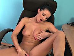 Watch Vanessa Jordin in this hot solo video of HotGVibe.See how this sexy brunette babe strips and masturbates her cunt with a vibrator and fingers herself nicely for you