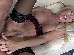 Long and fair haired voracious bims with nice titties fuck with one horny dawg. At first he drills that booty blond filth in missionary style...Look at this passionate FFM hammering in Fame Digital sex clip!