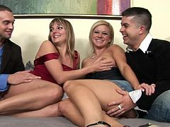 Have a look at this hardcore scene where these two gorgeous blondes are fucked silly by two big cocks in a hot foursome.