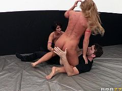 These 2 big breasted muscle bound sluts really want to return to fighting, but the referee won't allow such unsightly displays. The two women over power him and pull him down into the raucous action. He has to eat cunt and suck nipples. The wrestling makes them so horny they suck his cock and balls.