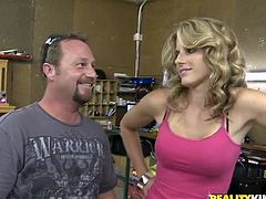 Captivating blonde milf Cory Chase is having fun with some dude in a shop. She favours the guy with a blowjob and then lets him pound her snatch in missionary and other positions.
