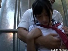 japanese schoolgirl sucks cock in alley