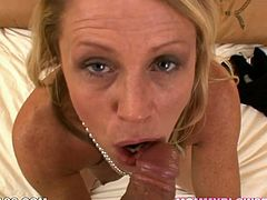 Horny mommy Nikki Charm goes wild over big dick on POV video. Milfie sucks that meat pole like a pro and jerks it off with her tender hands.
