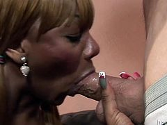 Fair haired voracious TS bitch with awesome fake jugs posed on knees and set to please her thirsting white dawg with nice deep throat. Look at this passionate lady boy's fuck in Fame Digital sex video!