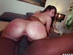 Lola Foxx is a pale skinned hot white girl with small boobs and big bubble ass. She gets her pink wet pussy banged as hard as possible by her big cocked black fuck buddy. She loves his dark monster cock!